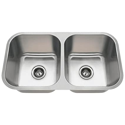 Double Bowl Stainless Steel Kitchen Sink.3218a 16 Gauge Undermount Equal Double Bowl Stainless Steel Kitchen Sink