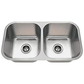 3218a 18gauge undermount equal double bowl stainless steel kitchen sink