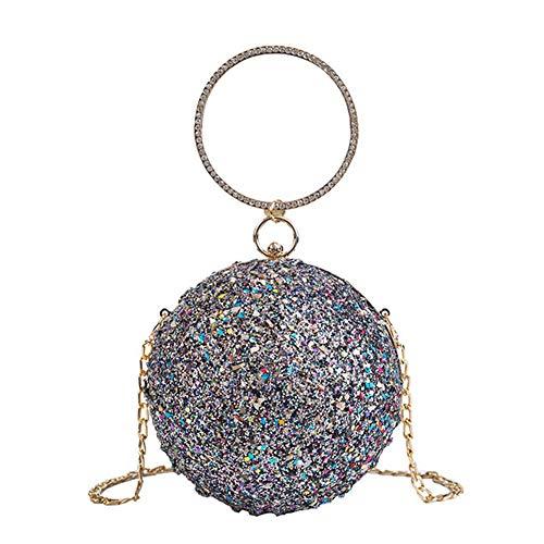 - New women's bag sequins evening bag ladies Europe and America spherical handbag dress shoulder Messenger bag cosmetic bag gray 14cm14cm14cm