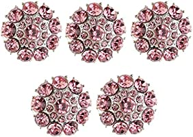 5 Crystal Rhinestone Pink Flower Buttons Silver Tone Sewing Dress Craft 25mm