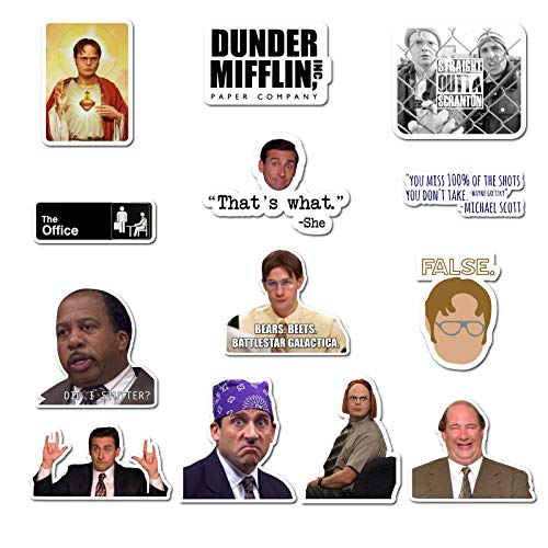 The Office Sticker Pack of 15 Stickers - The Office Stickers for Laptops, Dunder Mifflin Stickers, The Office Laptop Stickers, Funny Stickers for Laptops, Computers, Hydro Flasks, Water Bottles ()