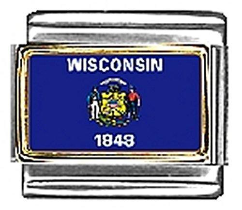 State of Wisconsin Photo Flag Italian Charm Bracelet Jewelry Link 9mm