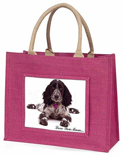 Advanta Roan Cocker Spaniel Love You Mum Große Einkaufstasche/Weihnachtsgeschenk, Jute, pink, 42x 34,5x 2cm