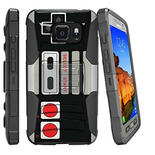 MINITURTLE Case Compatible w/ Galaxy S7 Active Heavy Duty Case [NOT FOR S7} [Clip Armor] Premium Defender Case Hard Shell Silicone Interior w/ Stand & Holster Game Controller
