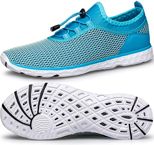 MURDESOT Womens Water Shoes Quick Dry Aqua Sneakers Sports for Kayak Boat Pool Beach Swim Diving Fashion Blue Outdoor US Size 9