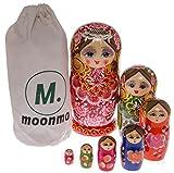 Moonmo 7pcs Beautiful Gold Red Handmade Wooden Russia Nesting Dolls Gift Russian Nesting Wishing Dolls Matryoshka Traditional