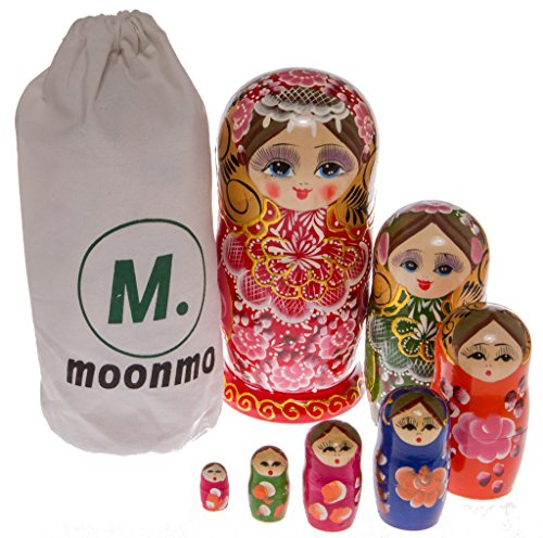 Price comparison product image Moonmo 7pcs Beautiful Gold Red Handmade Wooden Russia Nesting Dolls Gift Russian Nesting Wishing Dolls Matryoshka Traditional