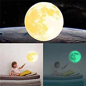 Kicode Luminous Wall Stickers 30cm Multicolor Large Moon Moonlight DIY Art Removable Living Bed Room Home Decoration