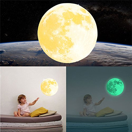 30cm Luminous Wall Stickers Moonlight Home Decor Yellow - 2