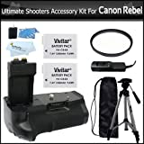 Ultimate Shooters Accessory Bundle Kit For Canon EOS Rebel T5i, T4i, T2i T3i, EOS 600D DSLR Digital Camera Kit Includes Battery Grip + 2 Extra Batteries + Remote Shutter + UV Filter + Tripod + Much More