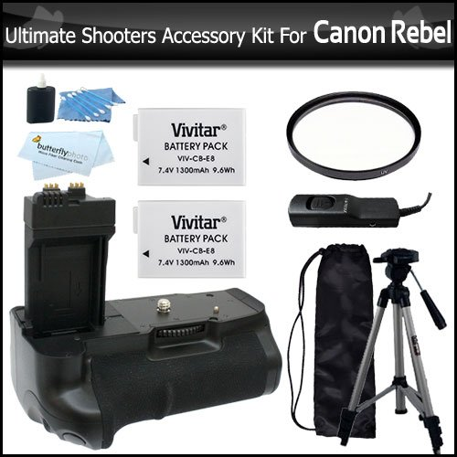 Ultimate Shooters Accessory Bundle Kit For Canon EOS Rebel T5i, T4i, T2i T3i, EOS 600D DSLR Digital Camera Kit Includes Battery Grip + 2 Extra Batteries + Remote Shutter + UV Filter + Tripod + Much More by ButterflyPhoto