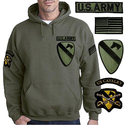 FELPA MILITARE CON CAPPUCCIO US CAVALRY, MAGLIA US ARMY
