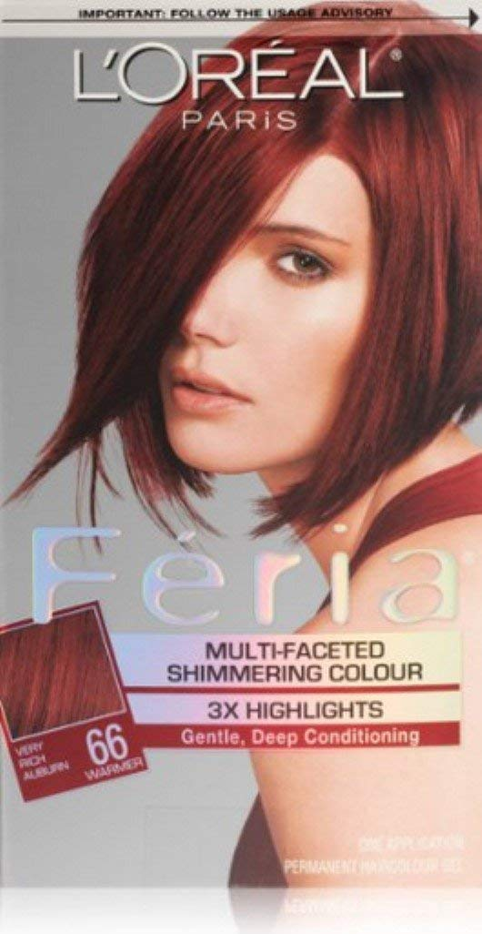 L'Oreal Paris Feria Multi-Faceted Shimmering Color, Very Rich Auburn [66] (Warmer) 1 ea (Pack of 3) by L'Oreal Paris