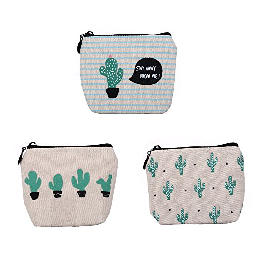 Cute Cactus Canvas Change Coin Purse Small Zipper Pouch Bag Wallet by Aiphamy, 3 Pack from Aiphamy