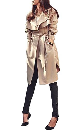Minetom Mujer Chaquetas Elegantes Clásico Manga Larga Solapa Cinturón Abrigo Talla Grande Trench Coat Slim Fit Cardigan Outwear Blazer