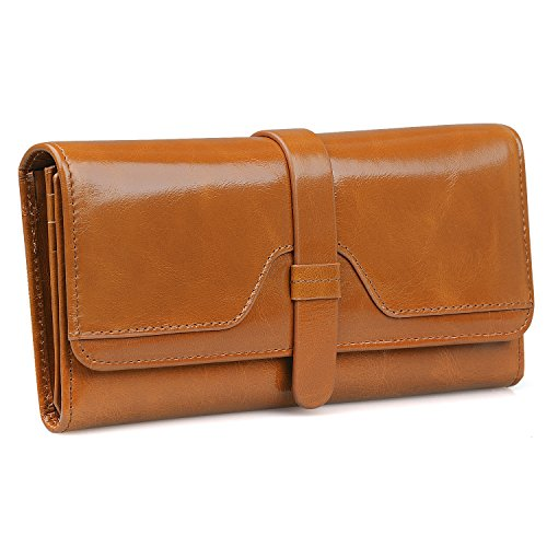 JackChris Women's Leather Large Capacity Wallet Tri-fold Purse with 12 Card Slots, WBXH049 (Brown)
