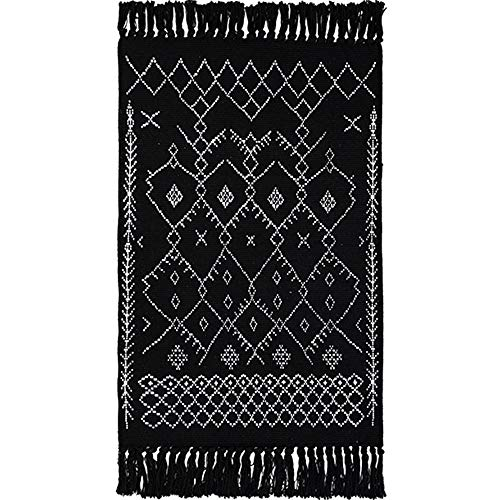 Wolala Home 100% Handmade Reversible Rug Runner Black and White Stripe Tassels Printed Rug Washable Bohemia Area Rugs Pad (23''x51'')