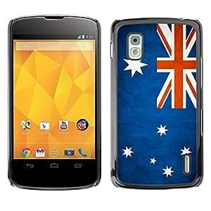 Caucho caso de Shell duro de la cubierta de accesorios de protección BY RAYDREAMMM - LG Google Nexus 4 E960 - Australia Grunge Flag