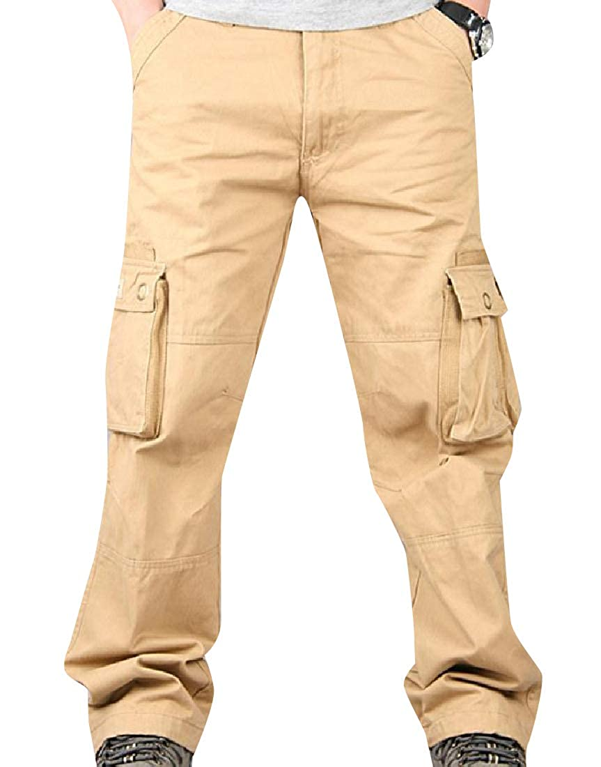 Comaba Men Rugged Plus Size Multi-Pockets Thickening Cargo Trousers