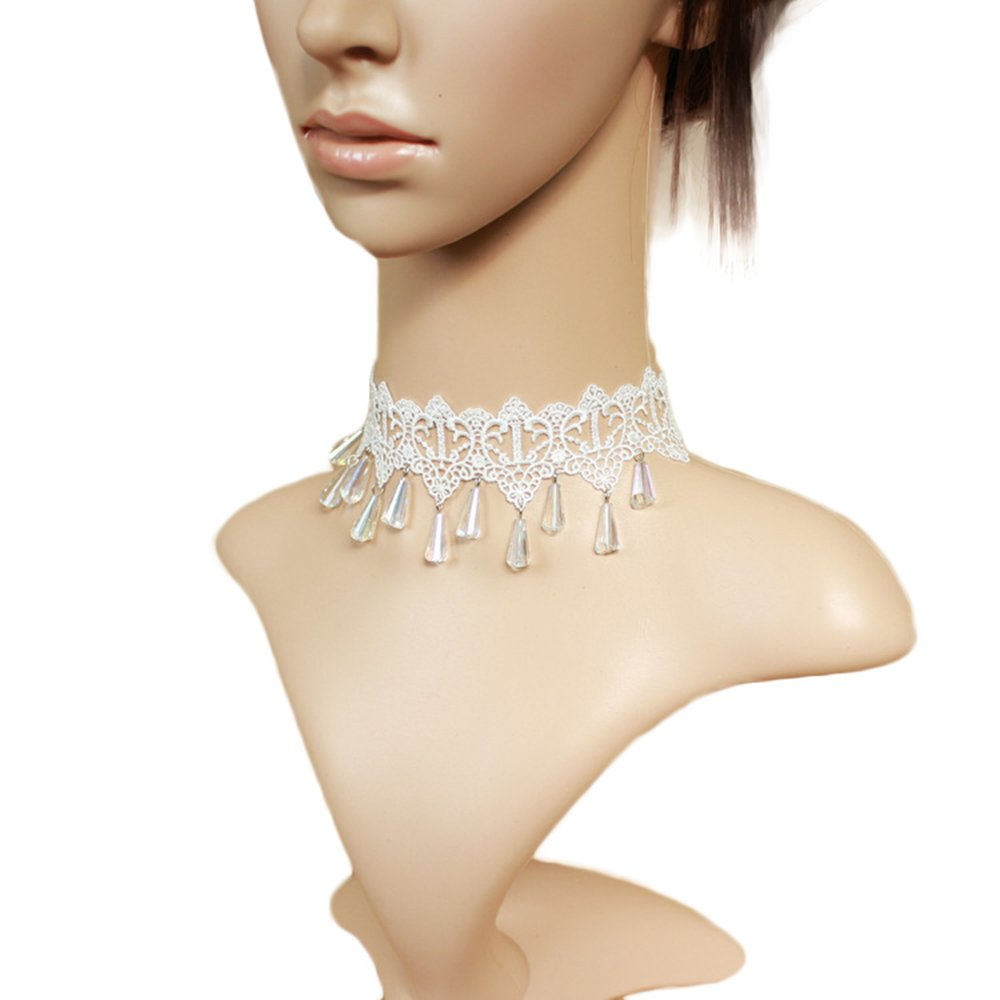 Vpang White Lace Necklace Beads Tassels Chain Lolita Gothic Pendant Choker Wedding Halloween Party Accessories