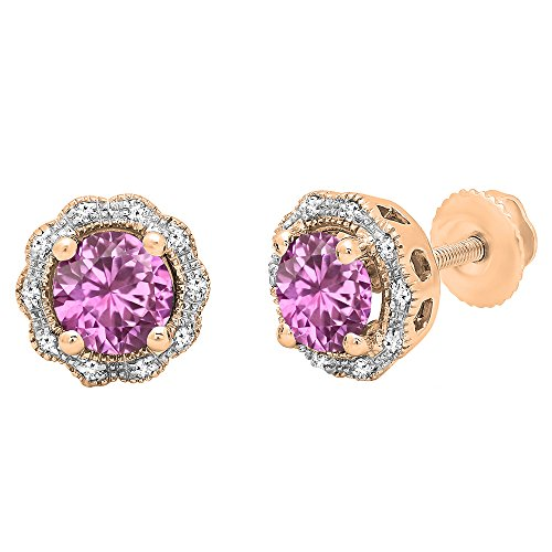 14K Rose Gold 6 MM Each Round Pink Sapphire & White Diamond Ladies Cluster Halo Stud Earrings Pink Sapphire Cluster Earrings