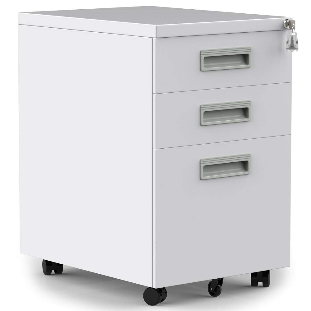 3 Drawers Mobile File Cabinet with Lock, White Filing Cabinet with Wheels, Fully Assembled