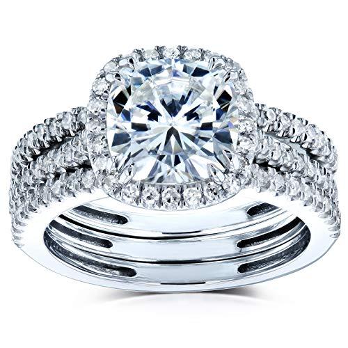 Kobelli Cushion Brilliant Moissanite Halo Bridal Wedding Rings Set 2 1/2 CTW 14k White Gold, 10.5