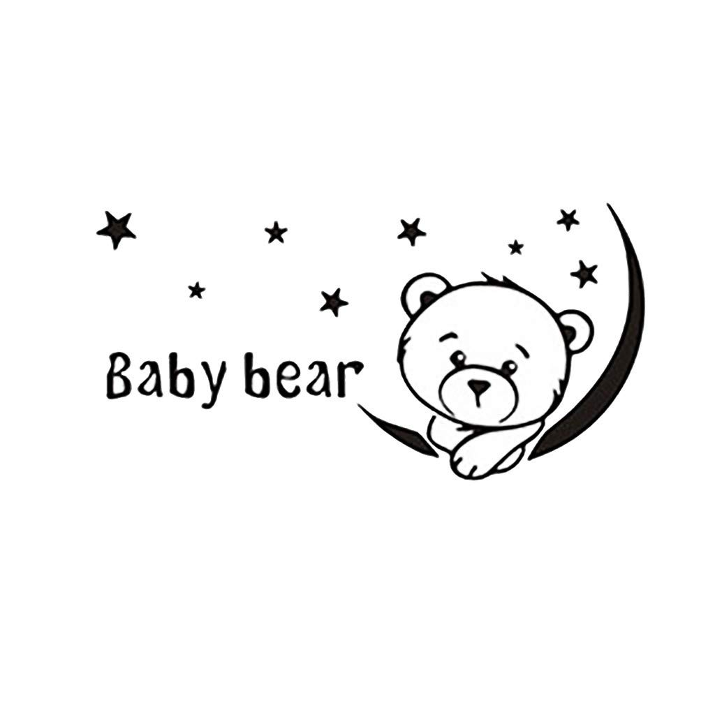 Cyhulu Creative Removable Window Wall Decal, New Fashion Cute Baby Bear 3D Mural Stickers for Baby Bedroom Living Room Home Office Wall Art DIY Vinyl Decoration