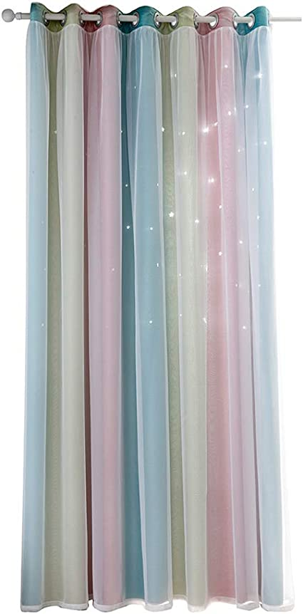 Yorten Star Curtains Stars Blackout Curtains For Kids Girls Bedroom Living Room Colorful Double Layer Star Window Curtains 1 Panel Amazon Co Uk Kitchen Home
