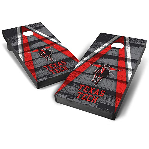 Wild Sports NCAA Texas Tech Red Raiders College Grey Authentic Cornhole Game Set Vintage Triangle Design, 2' x 4', Team Color