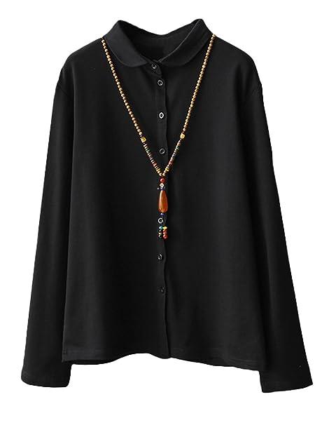 Larga Para Camisa Negro Camisas Matchlife Manga Mujer TqatPwH