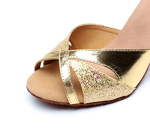 Zapatos Gold JSHOE Zapatos Altos Sandalias Metal Tacones Modern Mujeres Cruzada De del De Correa Salsa Baile La De De La La Samba Hebilla 5cm Las Tango heeled7 De Our36 EU35 Jazz De UK4 pddqwr