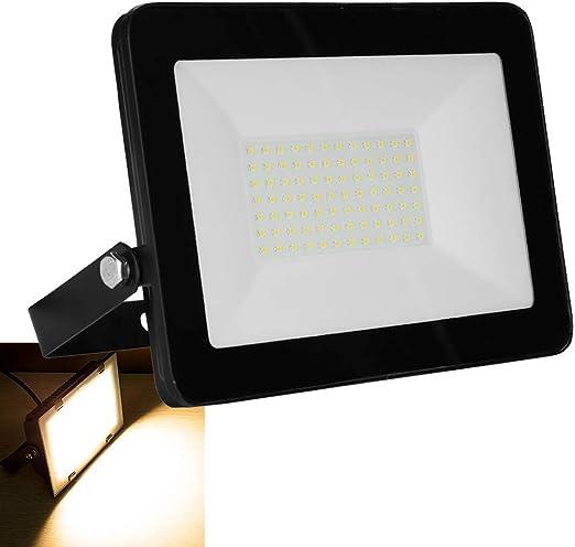 Foco LED de 100 W, 6500 lm, IP65, resistente al agua, para exterior, luz blanca cálida, iluminación exterior para jardín, garaje, espacio deportivo, hotel: Amazon.es: Iluminación