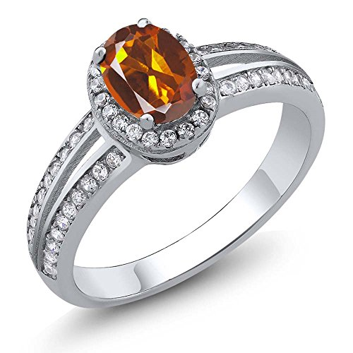 Madeira Citrine Ring (1.00 Ct Oval Orange Red Madeira Citrine Gemstone 925 Sterling Silver Ring (Ring Size 7))