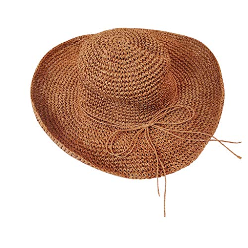 Sunshinehomely Women Summer Wide Brim Straw Hat Floppy Foldable Roll up Cap Beach Sun Hat UPF 50+ (Coffee)