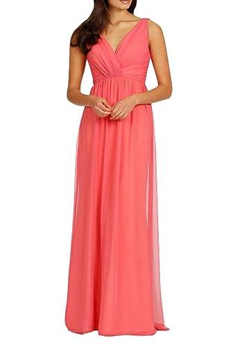 Hanxue Women's Ruched Bridesmaid Dress Long Evening Dresses