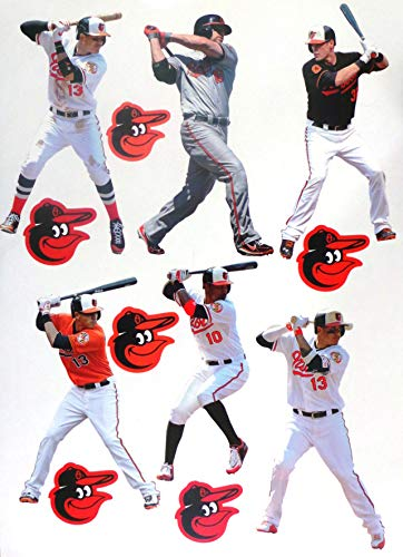 FATHEAD Baltimore Orioles Team Set 6 Players + 6 Orioles Logo Official MLB Vinyl Wall Graphics - Each Player 7