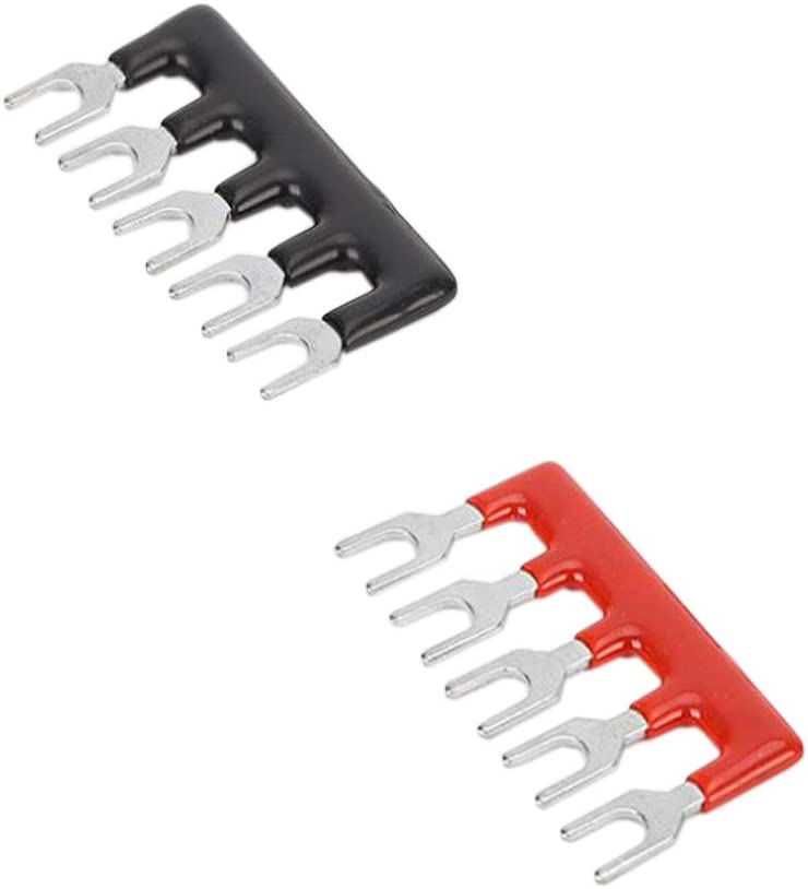 JJDD 5 PCS Double Row 5 Position Screw Terminal Strip 600V 15A+ 400V 15A 5 Postions Pre-Insulated Terminal Barrier Strip Suitable for Industrial Railway,Red//Black 5PCS Instrumentation Lighting