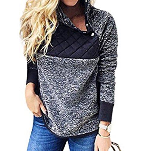 Aeugoa Women's Turtleneck Long Sleeves Jacket Coat Fleece Sweater Pullover Jersey Long Sleeve Bib