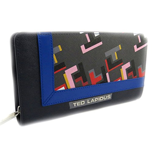 Zipped wallet + checkbook holder 'Ted Lapidus' blue multicolored. by Ted Lapidus