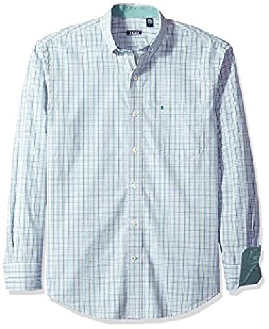 IZOD Men's Essential Check Long Sleeve Shirt, North Sea, Large (Long Sleeve Office)