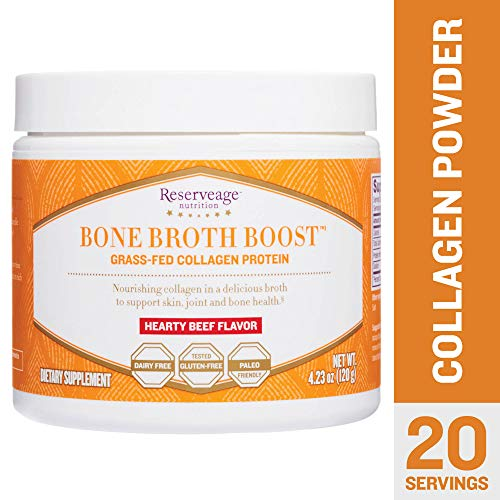 Reserveage - Bone Broth Boost Powder,Grass-Fed Collagen Protein to Support for Strong Joints, Bones, and Youthful Skin, Dairy Free, Gluten Free, Paleo, Hearty Beef, 4.23 oz (20 - Ounce 4.23 Liquid