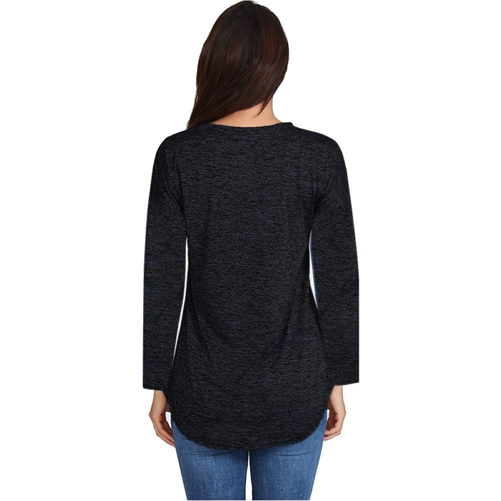 WUGO Women\'s Sexy Deep V Neck Zip UP Long Sleeve Tops Loose Casual T Shirt Tunic Blouses (XXL, Black)