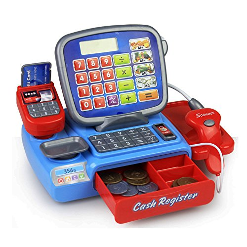 mulated Cash Register With Scanner, Microphone & Credit Card Mini Children's Shop Shopping Grocer supermarket Simulation Checkout Toy Set Pretend Play Electronic Toys For Learning ()