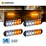 LAMPHUS 4PC PlanarFlash PFLH06 Ultra Flat LED Light Head [SAE Class 1] [72 Paterns] [180° of Coverage] [Fits in Small Places] Warning Lights for Police & Emergency Vehicles - Amber/White