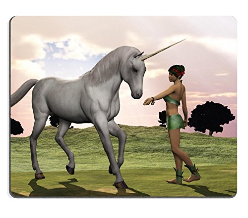 Liili Mouse Pad Natural Rubber Mousepad IMAGE ID: 20950711 Woodland elf in leafy costume offers the unicorn a treat
