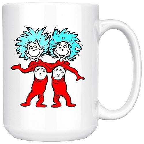 Thing 1 Thing 2 Buddies Dr Seuss Ceramic Coffee Mug Tea Cup (15oz, White) -