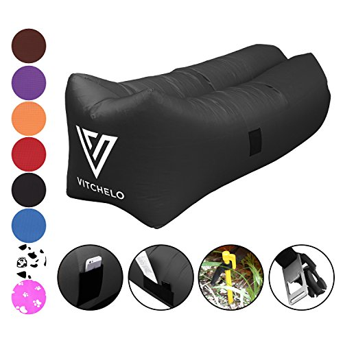 Vitchelo Inflatable Couch Giant Bean Bag Chairs Kids Adults Blow up Sofa – Inflatable Lounge & Air Chair Perfect Indoor Outdoor Hangout Camping Picnic & Music Festivals (Black)