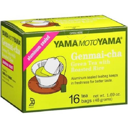 Yamamotoyama Genmai-cha Green Tea with Roasted Rice, 16 Tea Bags 1.69-Ounce Boxes (Pack of 12)