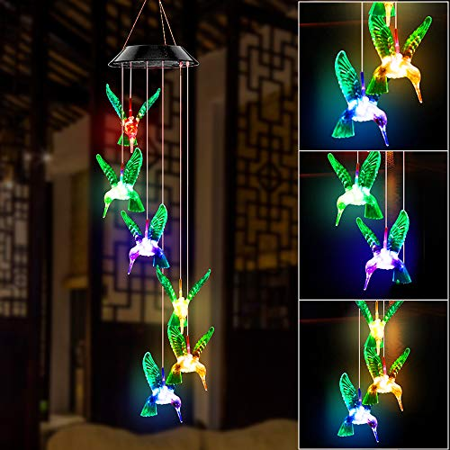 Solar Hummingbird Wind Chime Outdoor Indoor, Color Changing Led Solar Power Wind Chime Light, Colorful Decorative Mobile Hanging Wind Chime Personalized for Home, Patio, Garden, Yad, Porch, Window